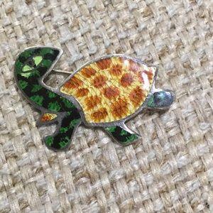 Unbranded Jewelry - Vintage Sterling Silver 60's Enamel Turtle Pin